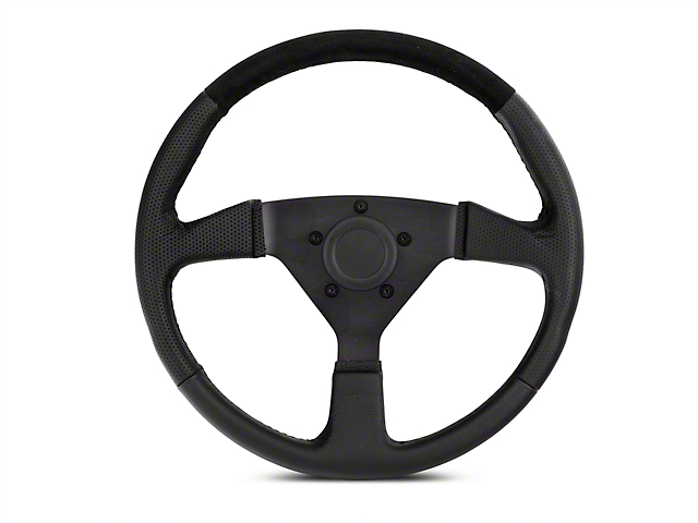 MMD 13.5 in. Leather & Suede Performance Steering Wheel w/ Quick Disconnect Kit - Black (84-04 All)