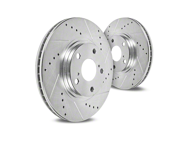 Hawk Performance Sector 27 Drilled & Slotted Rotors - Front Pair (94-04 Bullitt, Mach 1, Cobra)