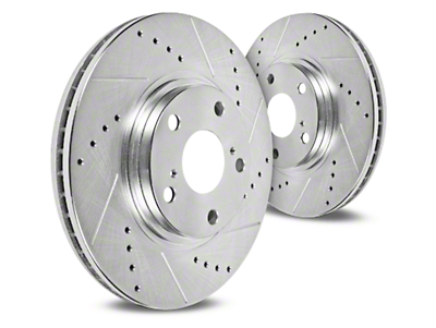Hawk Performance Sector 27 Drilled & Slotted Rotors - Front Pair (11-14 GT Brembo; 12-13 BOSS 302; 07-12 GT500)