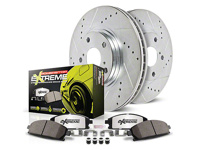 Power Stop Z26 Street Warrior Brake Rotor and Pad Kit; Front (15-20 GT w/ Performance Pack)