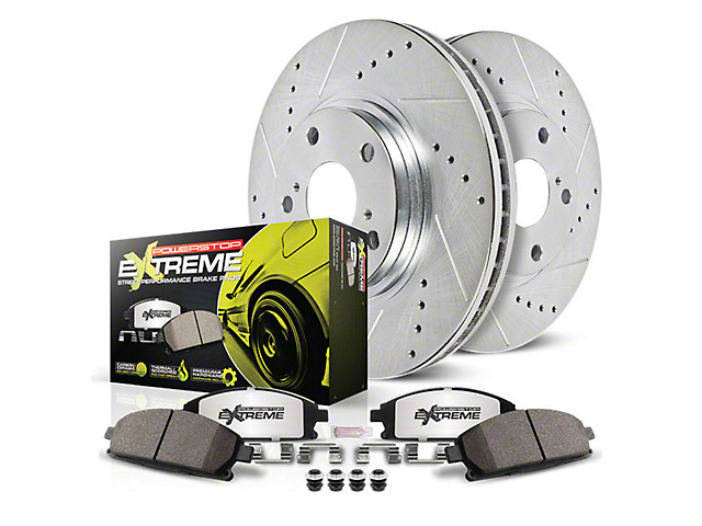 Power Stop Z26 Street Warrior Brake Rotor and Pad Kit; Front and Rear (07-14 GT500)