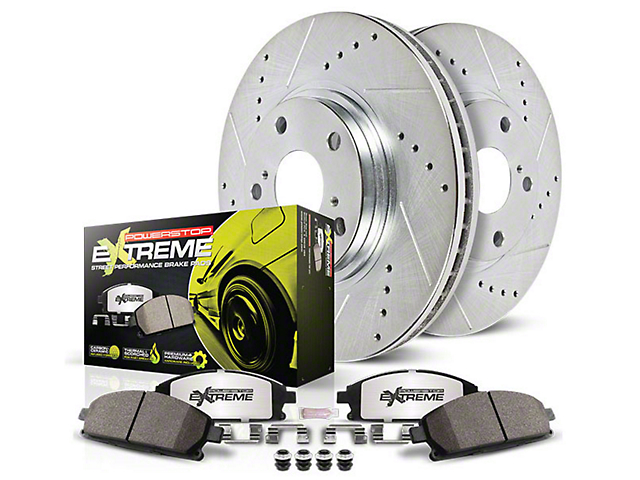 Power Stop Z26 Street Warrior Brake Rotor and Pad Kit; Front and Rear (15-21 Standard GT, EcoBoost w/ Performance Pack)