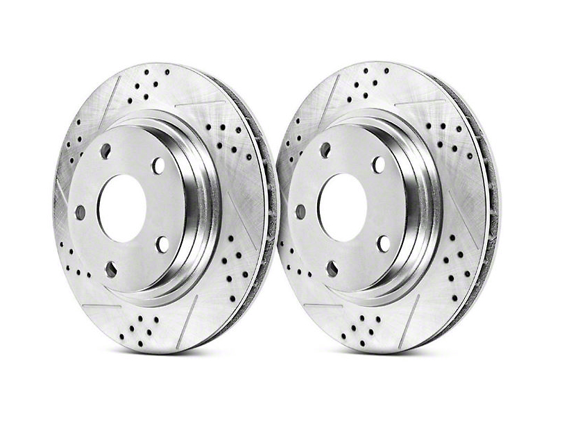 Power Stop Track Day Cross-Drilled & Slotted Rotors - Front Pair (11-14 GT Brembo; 12-13 BOSS; 07-12 GT500)