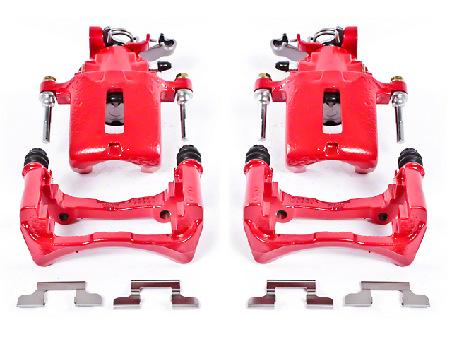 Power Stop Performance Rear Brake Calipers; Red (05-14 All)
