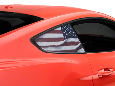 American Muscle Graphics Perforated American Flag Quarter Window Decal (15-18 Fastback)