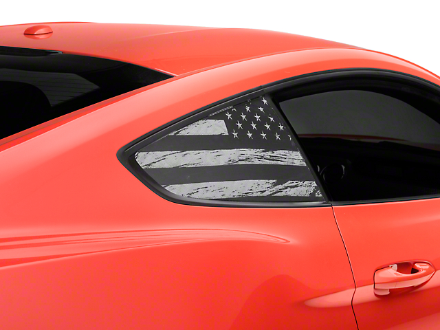 American Muscle Graphics Perforated Distressed Flag Quarter Window Decal (15-18 All)