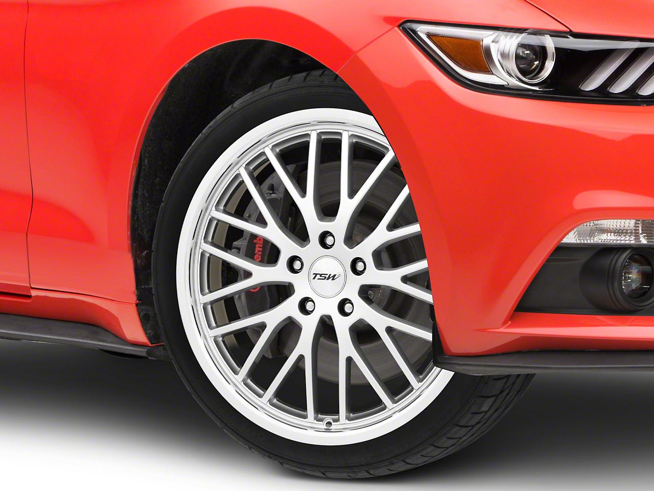 TSW Snetterton Hyper Silver w/ Mirror Cut Lip Wheel - 19x8 (15-17 GT, EcoBoost, V6)