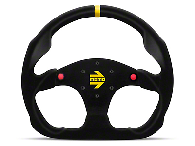 MOMO USA MOD 30 Racing Steering Wheel - Black Suede w/ Buttons (84-17 All)