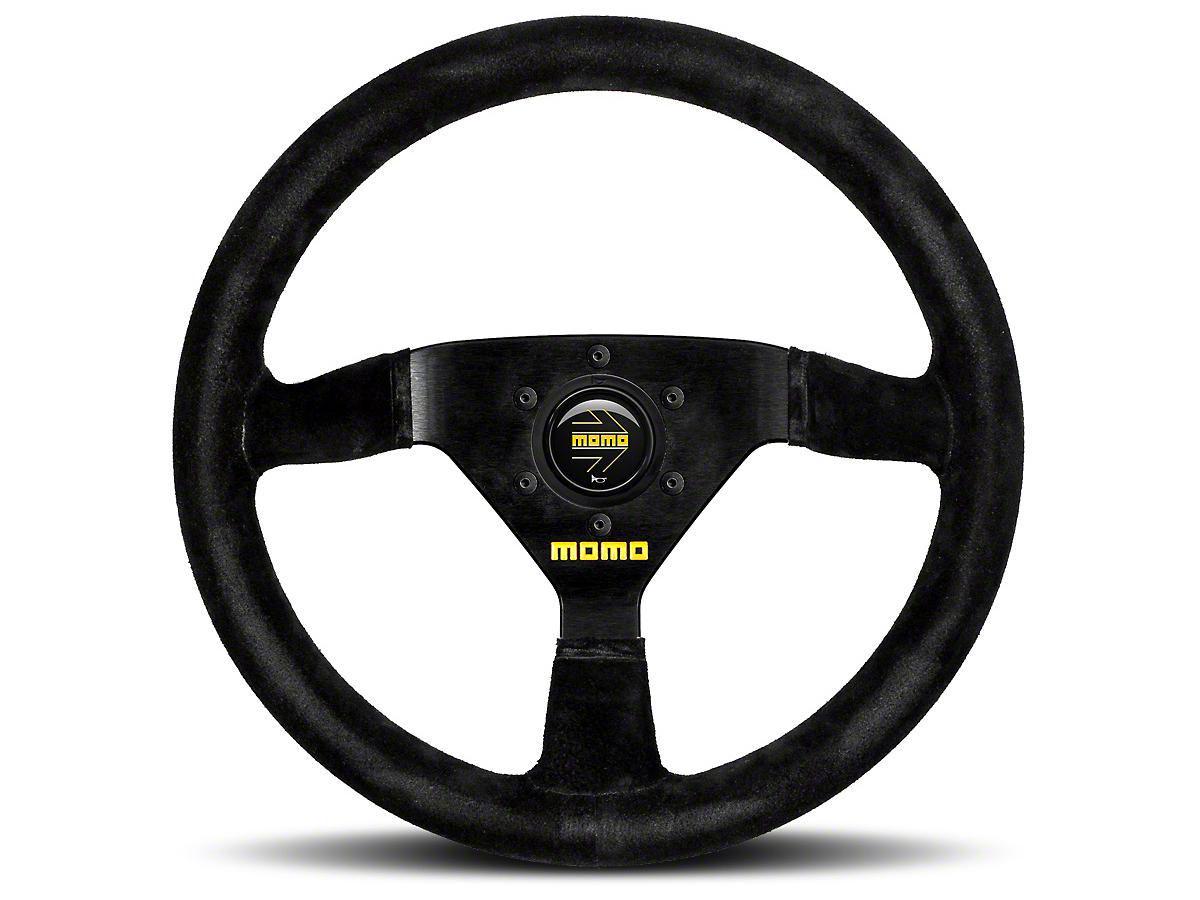 MOMO USA MOD 69 Racing Steering Wheel - Black Suede - 350mm Diameter (84-18 All)