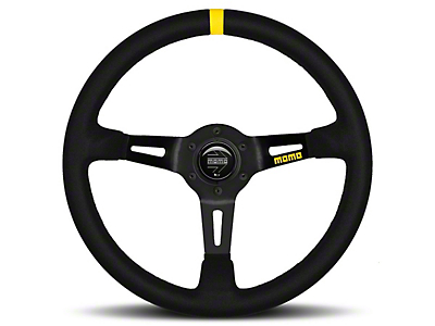 MOMO USA MOD 08 Racing Steering Wheel - Black Leather - 350mm Diameter (84-18 All)
