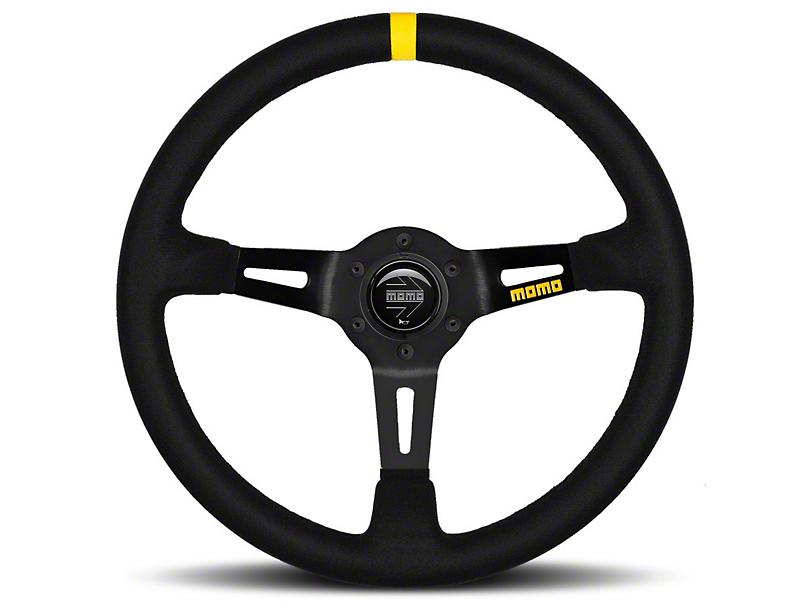 MOMO USA MOD 08 Racing Steering Wheel - Black Suede - 350mm Diameter (84-18 All)