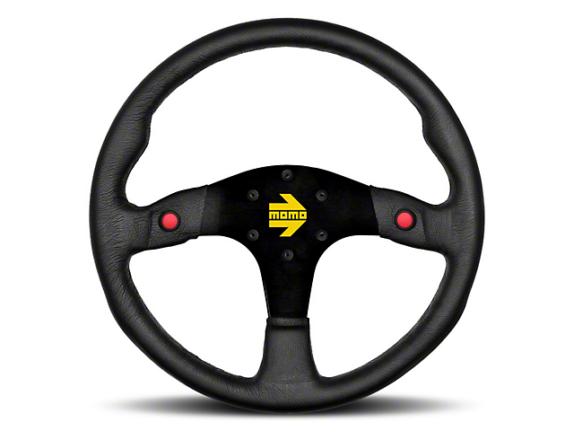 MOMO USA MOD 80 Racing Steering Wheel - Black Leather - 350mm Diameter (84-18 All)