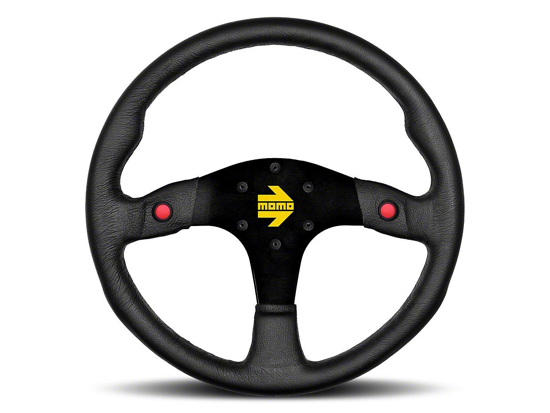 MOMO USA MOD 80 Racing Steering Wheel - Black Leather - 350mm Diameter (84-18 All)