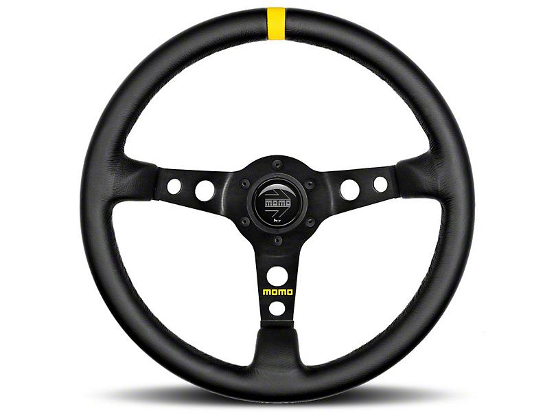 MOMO USA MOD 07 Racing Steering Wheel - Black Leather - 350mm Diameter (84-18 All)