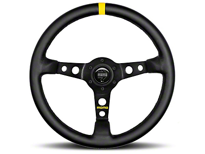 MOMO USA MOD 07 Racing Steering Wheel - Black Leather - 350mm Diameter (84-17 All)