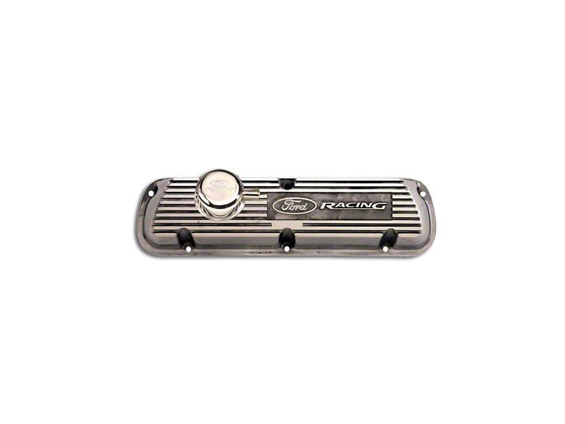 Ford Performance Aluminum Valve Cover w/ Ford Racing Logo - Polished (79-93 289, 302, 351W)