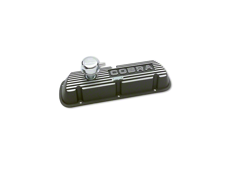 Ford Performance Aluminum Valve Cover w/ Cobra Logo - Black Satin (79-93 289, 302, 351W)