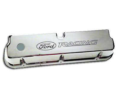 Ford Performance Aluminum Valve Covers w/ Ford Racing Logo - Chrome (79-93 289, 302, 351W)