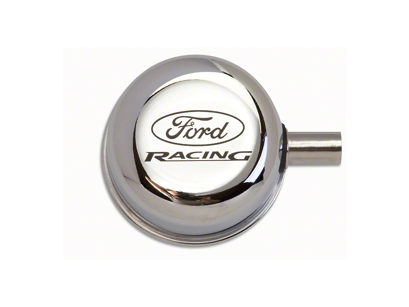 Ford Performance Chrome Breather Cap w/ Ford Racing Logo - Closed Crankcase Design (79-93 289, 302, 351W)