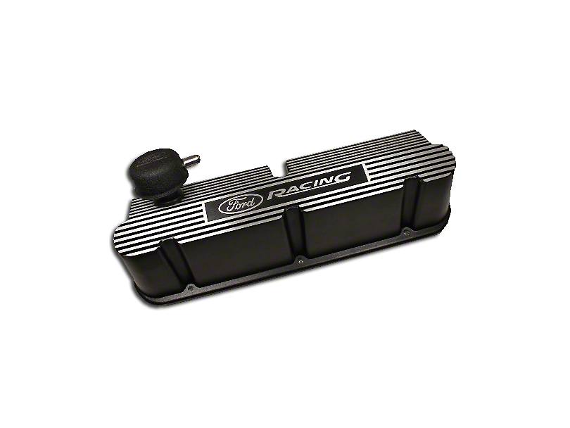 Ford Performance Black Ribbed Aluminum Valve Cover w/ Ford Racing Logo (79-93 289, 302, 351W)