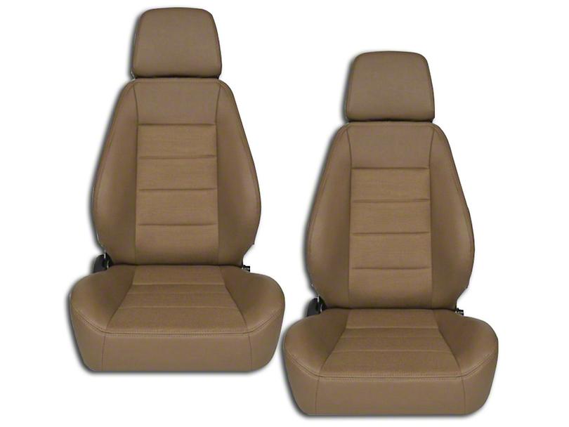 Corbeau Sport Seat Reclining Seat - Tan Vinyl/Cloth - Pair (79-18 All)