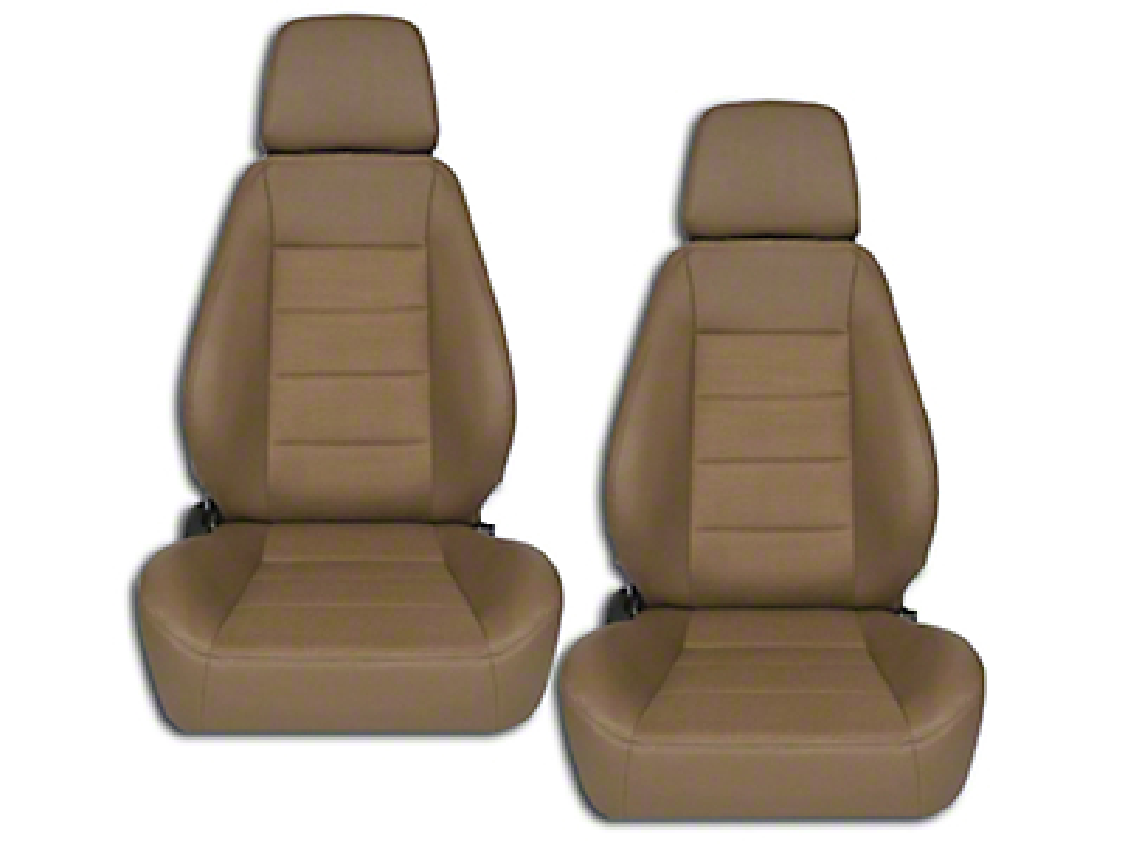 Corbeau Sport Seat Reclining Seat - Tan Vinyl/Cloth - Pair (79-17 All)