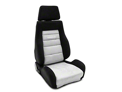 Corbeau GTS II Reclining Seat - Black/Gray Microsuede - Pair (79-18 All)