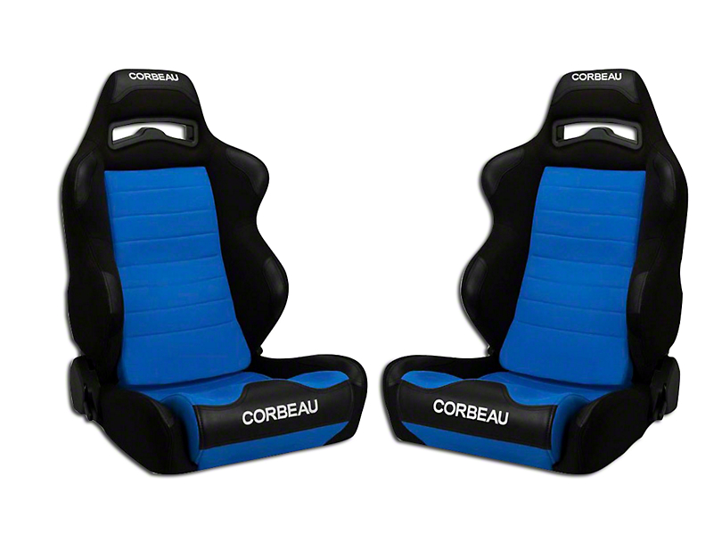 Corbeau LG1 Racing Seat - Black/Blue Cloth - Pair (79-18 All)