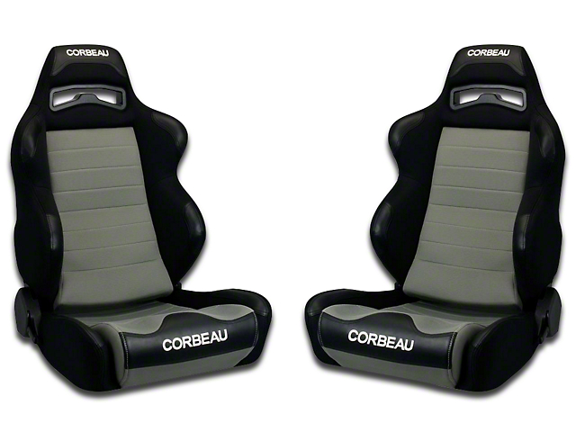 Corbeau LG1 Racing Seat - Black/Gray Cloth - Pair (79-18 All)