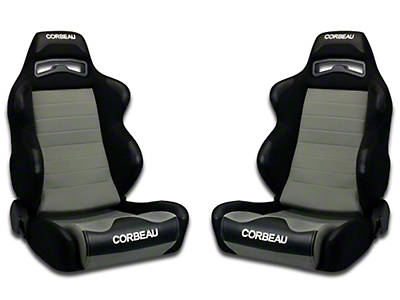 Corbeau LG1 Racing Seat - Black/Grey Cloth - Pair (79-18 All)