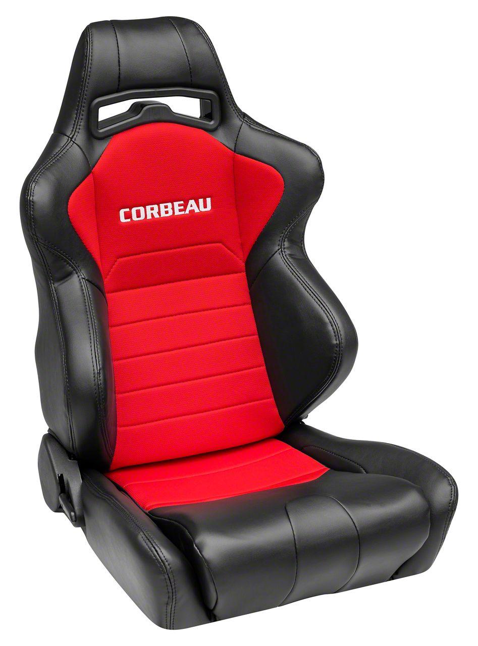 Corbeau LG1 Racing Seats - Black/Red Cloth - Pair (79-19 All)