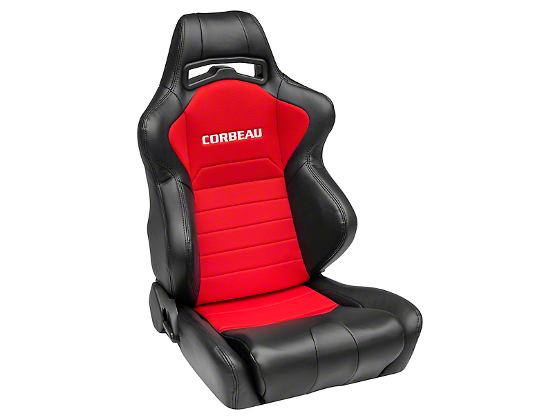 Corbeau LG1 Racing Seat - Black/Red Cloth - Pair (79-18 All)