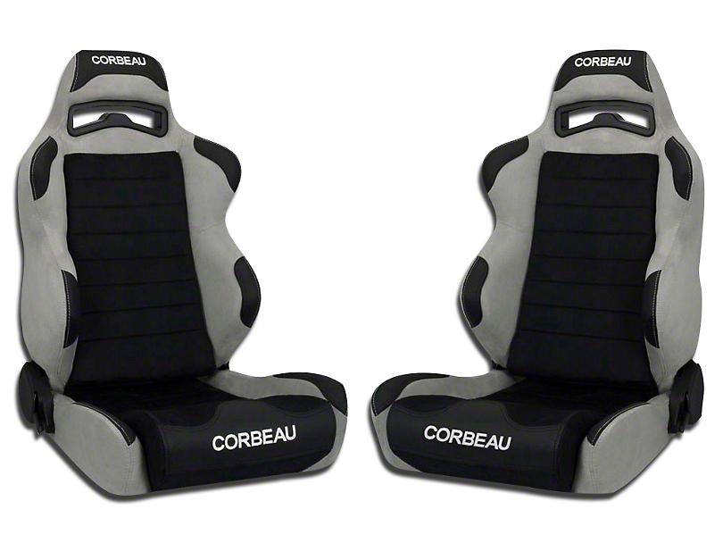 Corbeau LG1 Wide Racing Seat - Black/Gray Microsuede - Pair (79-18 All)