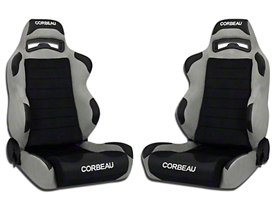Corbeau LG1 Wide Racing Seat - Black/Grey Microsuede - Pair (79-18 All)