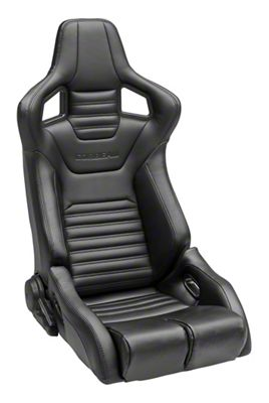 Corbeau Sportline RRB Reclining Seat - Black Cloth/Black Carbon Fiber Vinyl - Pair (79-19 All)