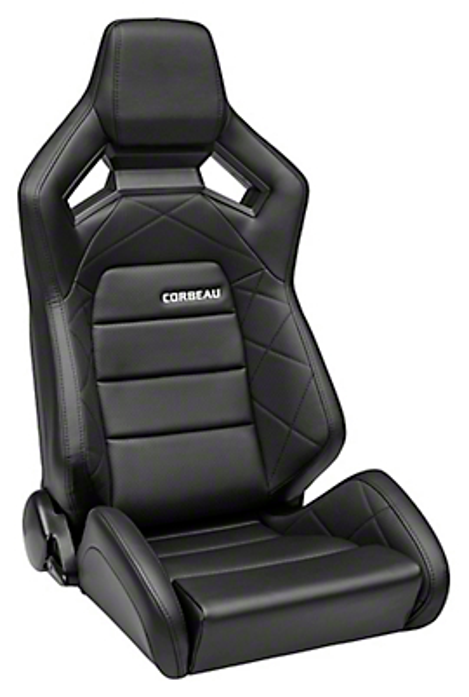 Corbeau Sportline RRX Reclining Seat - Black Cloth/Black Carbon Fiber Vinyl - Pair (79-17 All)