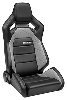 Corbeau Sportline RRX Reclining Seat - Black Cloth/Grey Carbon Fiber Vinyl - Pair (79-18 All)