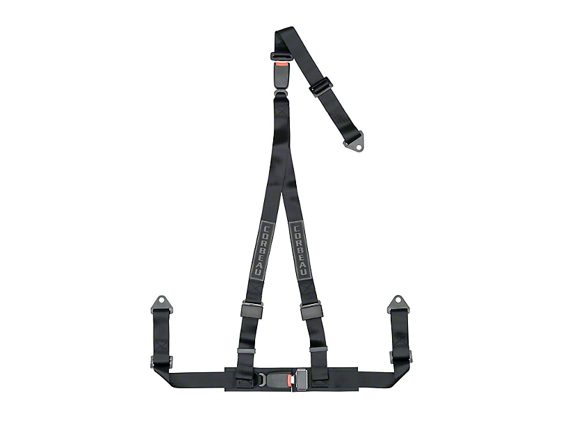 Corbeau 2 in. 3-Point Double Release Bolt-In Harness Belt - Black (Universal Fitment)