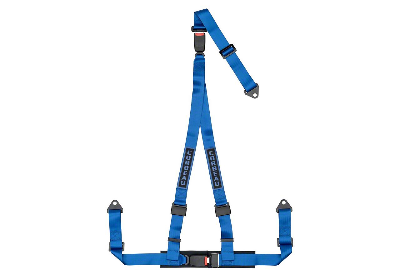 Corbeau 2 in. 3-Point Double Release Bolt-In Harness Belt - Blue (79-18 All)