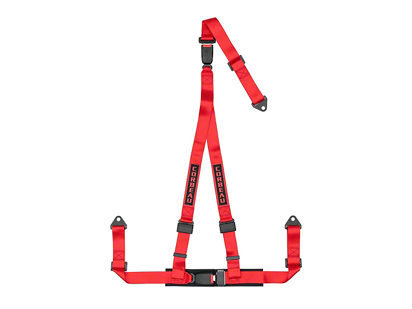 Corbeau 2 in. 3-Point Double Release Bolt-In Harness Belt - Red (79-18 All)