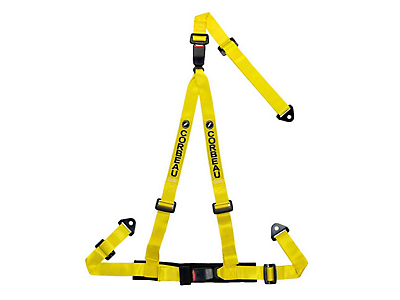 Corbeau 2 in. 3-Point Double Release Bolt-In Harness Belt - Yellow (79-18 All)
