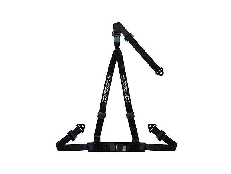 Corbeau 2 in. 3-Point Double Release Snap-In Harness Belt - Black (79-18 All)