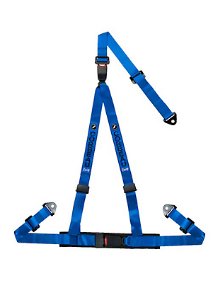 Corbeau 2 in. 3-Point Double Release Snap-In Harness Belt - Blue (79-17 All)
