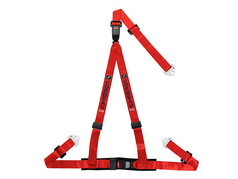 Corbeau 2 in. 3-Point Double Release Snap-In Harness Belt - Red (79-18 All)