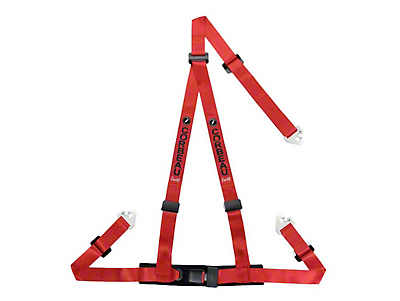 Corbeau 2 in. 3-Point Snap-In Harness Belt - Red (79-18 All)