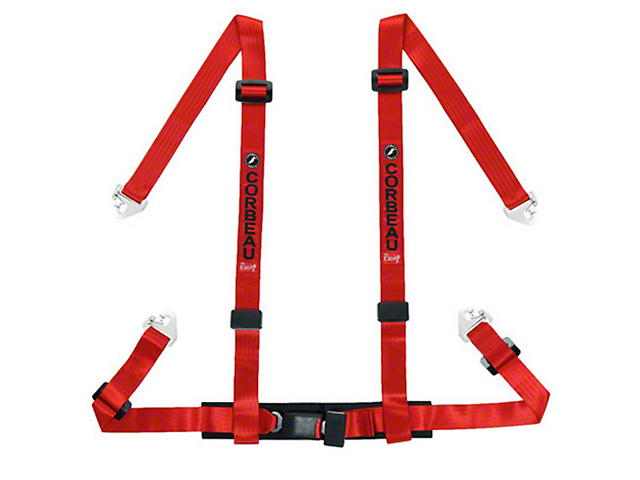 Corbeau 2 in. 4-Point Snap-In Harness Belt - Red (79-18 All)