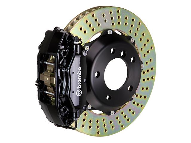 Brembo GT Series 4-Piston Front Big Brake Kit w/ Cross Drilled Rotors - Black Calipers (05-14 GT, V6)
