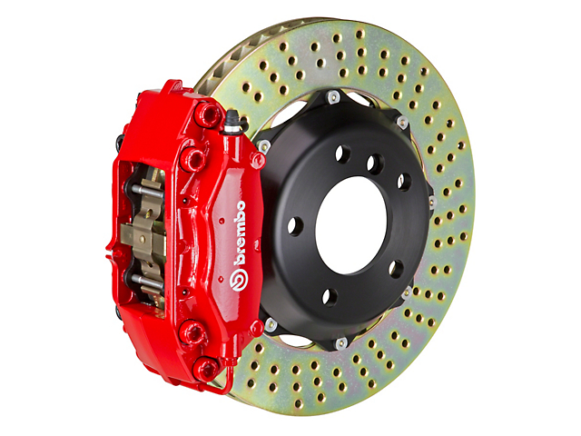 Brembo GT Series 4-Piston Front Big Brake Kit w/ Cross Drilled Rotors - Red Calipers (05-14 GT, V6)