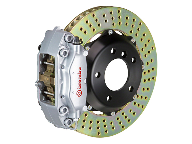 Brembo GT Series 4-Piston Front Big Brake Kit with Cross Drilled Rotors; Silver Calipers (05-14 GT, V6)