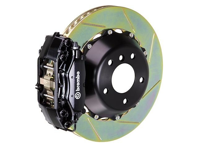 Brembo GT Series 4-Piston Front Big Brake Kit with Slotted Rotors; Black Calipers (05-14 GT, V6)